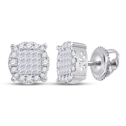 14kt White Gold Womens Princess Diamond Fashion Cluster Earrings 1 Cttw