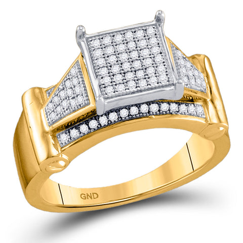 10kt Yellow Gold Womens Round Diamond Elevated Square Cluster Ring 1/4 Cttw