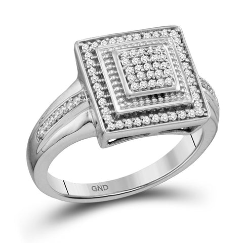 10kt White Gold Womens Round Diamond Square Frame Cluster Ring 1/5 Cttw