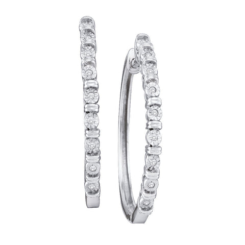 10kt White Gold Womens Round Diamond Single Row Hoop Earrings 1/20 Cttw