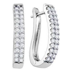 14k White Gold Round Pave-set Diamond 2-row Womens Oblong Hoop Earrings 1 Cttw