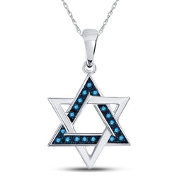 10kt White Gold Womens Round Blue Color Enhanced Diamond Magen David Star Pendant 1/10 Cttw