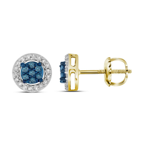 10k Yellow Gold Womens Round Blue Color Enhanced Diamond Cluster Stud Earrings 1/4 Cttw
