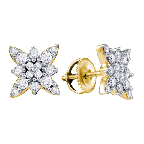 14kt Yellow Gold Womens Round Diamond Starburst Cluster Earrings 5/8 Cttw