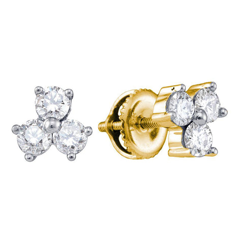 14kt Yellow Gold Womens Round Diamond 3-stone Earrings 3/4 Cttw
