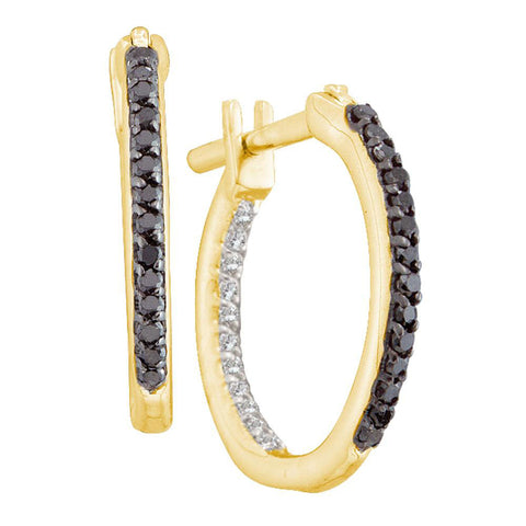 10kt Yellow Gold Womens Round Black Color Enhanced Diamond Hoop Earrings 1/4 Cttw