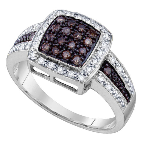 10kt White Gold Womens Round Brown Diamond Square Cluster Ring 1/2 Cttw