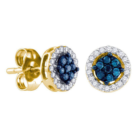 14k Yellow Gold Womens Round Blue Color Enhanced Diamond Cluster Stud Earrings 1/4 Cttw