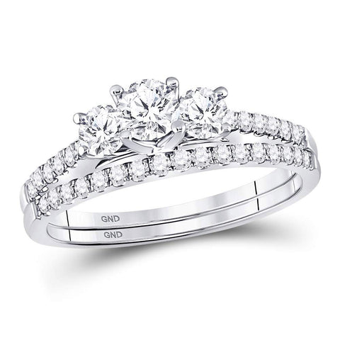 14kt White Gold Round Diamond 3-stone Bridal Wedding Ring Band Set 1 Cttw