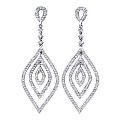 14kt White Gold Womens Round Diamond Oval Dangle Earrings 1 Cttw