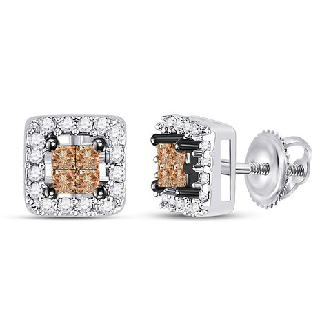 14kt White Gold Womens Princess Brown Diamond Square Earrings 1/3 Cttw