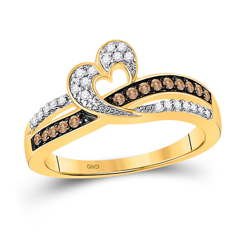 10kt Yellow Gold Womens Round Brown Diamond Heart Ring 1/4 Cttw