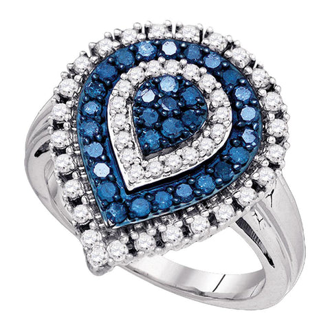 10kt White Gold Womens Round Blue Color Enhanced Diamond Teardrop Cluster Ring 1 Cttw