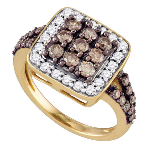 10kt Rose Gold Womens Round Brown Diamond Square Cluster Ring 1-1/2 Cttw