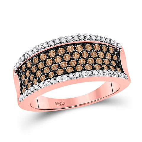 10kt Rose Gold Womens Round Brown Diamond Band Ring 3/4 Cttw