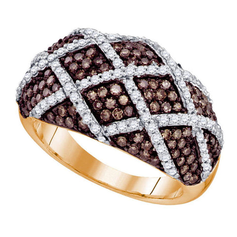 10kt Rose Gold Womens Round Brown Diamond Stripe Fashion Ring 1-1/2 Cttw