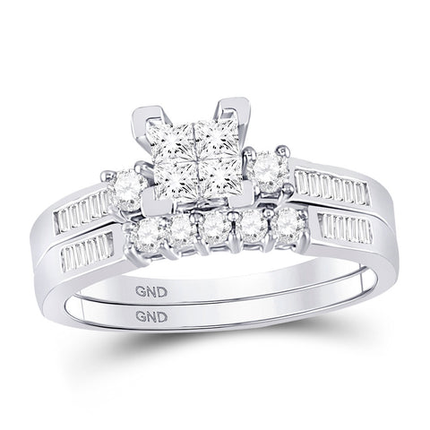 10kt White Gold Princess Diamond Bridal Wedding Ring Band Set 1/2 Cttw