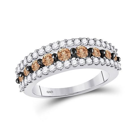 10kt White Gold Womens Round Brown Diamond Band Ring 1-1/2 Cttw