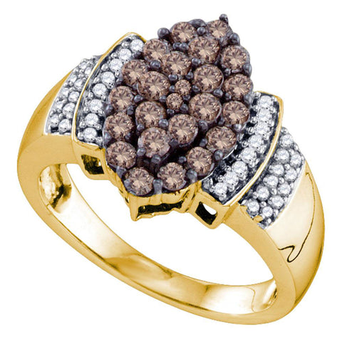 10kt Yellow Gold Womens Round Brown Diamond Cluster Ring 1 Cttw