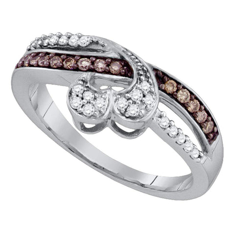 10kt White Gold Womens Round Brown Diamond Heart Band Ring 1/4 Cttw