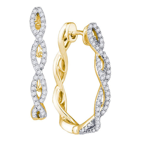 10kt Yellow Gold Womens Round Diamond Twist Hoop Earrings 1/2 Cttw