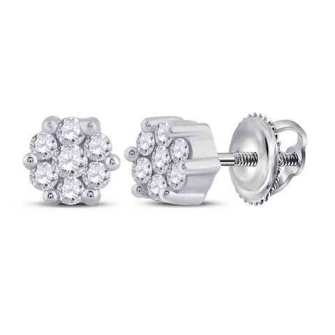 Sterling Silver Womens Round Diamond Flower Cluster Stud Earrings 1/6 Cttw