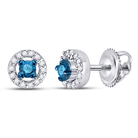 10kt White Gold Womens Round Blue Color Enhanced Diamond Halo Earrings 1/5 Cttw