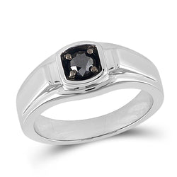 Sterling Silver Mens Round Black Color Enhanced Diamond Solitaire Ring 1/2 Cttw
