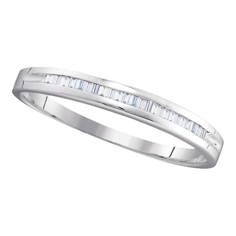 10kt White Gold Womens Baguette Diamond Band Wedding Anniversary Ring 1/6 Cttw