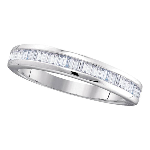 10kt White Gold Womens Baguette Diamond Band Wedding Anniversary Ring 1/2 Cttw