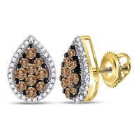 10kt Yellow Gold Womens Round Brown Diamond Teardrop Cluster Earrings 1 Cttw