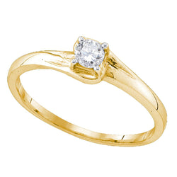 10kt Yellow Gold Womens Round Diamond Solitaire Promise Ring 1/8 Cttw
