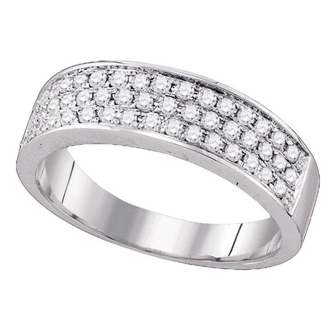 10kt White Gold Womens Round Diamond Pave Band Ring 1/2 Cttw