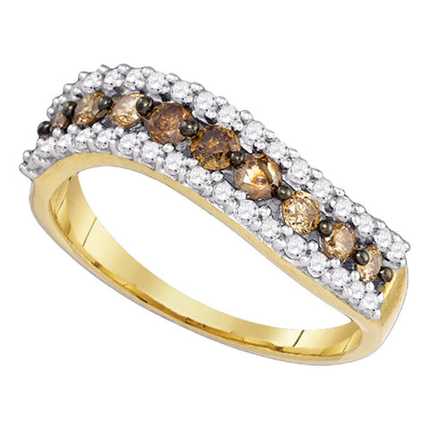 10kt Yellow Gold Womens Round Brown Diamond Contoured Band 3/4 Cttw