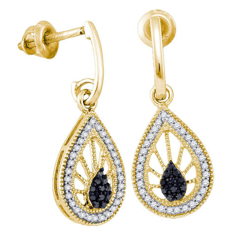 10kt Yellow Gold Womens Round Black Color Enhanced Diamond Teardrop Dangle Earrings 1/4 Cttw
