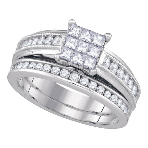 14kt White Gold Princess Diamond Cluster Bridal Wedding Ring Band Set 1 Cttw