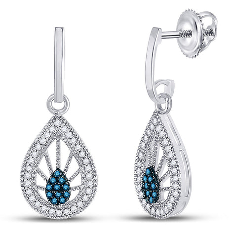 10kt White Gold Womens Round Blue Color Enhanced Diamond Teardrop Earrings 1/4 Cttw