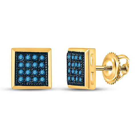 10k Yellow Gold Womens Blue Color Enhanced Diamond Square Cluster Stud Earrings 1/10 Cttw