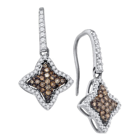 10kt White Gold Womens Round Brown Diamond Star Dangle Earrings 5/8 Cttw