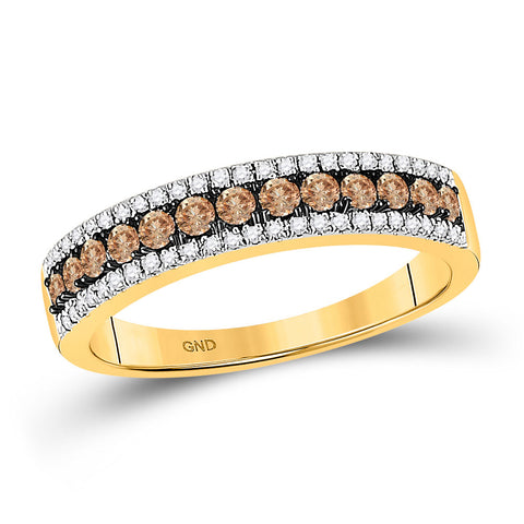 14k Yellow Gold Brown White Diamond Pave-set Womens Band Ring 1/2 Cttw