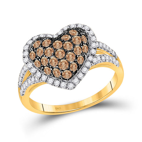 10kt Yellow Gold Womens Round Brown Diamond Heart Ring 1-1/3 Cttw