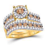 10kt Yellow Gold Round Brown Diamond Bridal Wedding Ring Band Set 1-3/4 Cttw