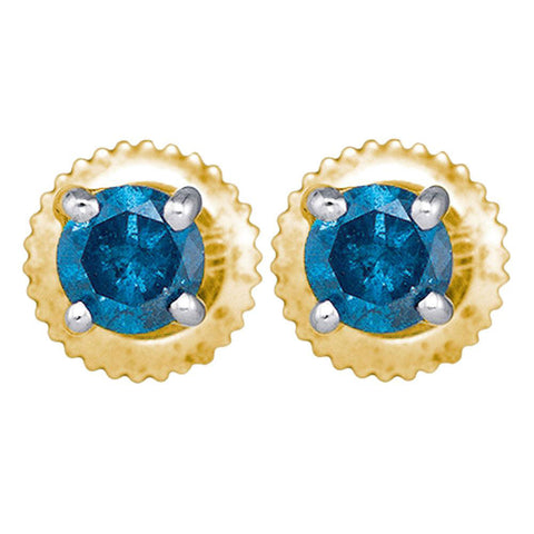 10kt Yellow Gold Womens Round Blue Color Enhanced Diamond Solitaire Stud Earrings 1/4 Cttw