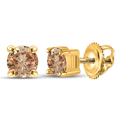 10kt Yellow Gold Womens Round Brown Diamond Stud Earrings 1/2 Cttw