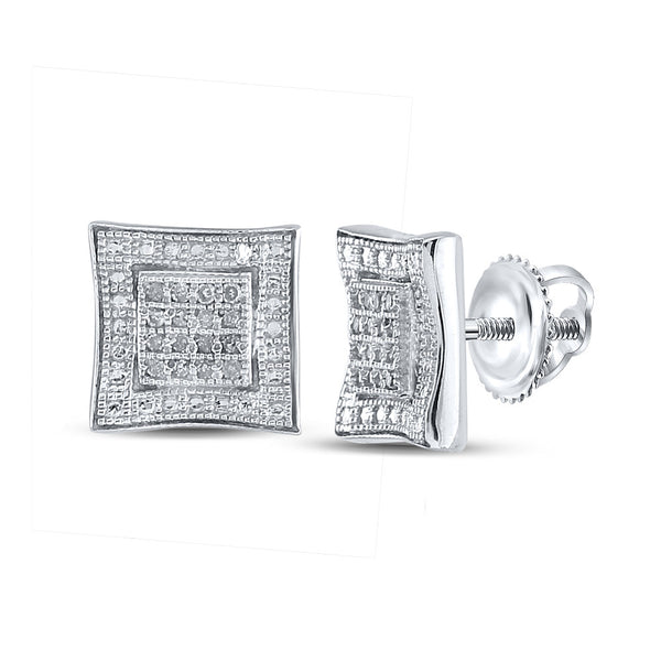 Sterling Silver Mens Round Diamond Square Kite Cluster Earrings 1/10 Cttw