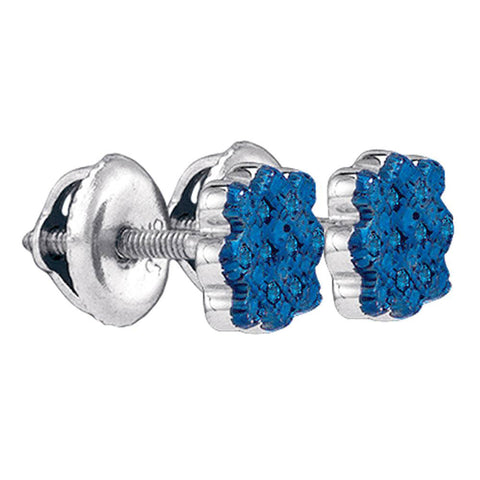 Sterling Silver Womens Round Blue Color Enhanced Diamond Cluster Stud Earrings 1/20 Cttw