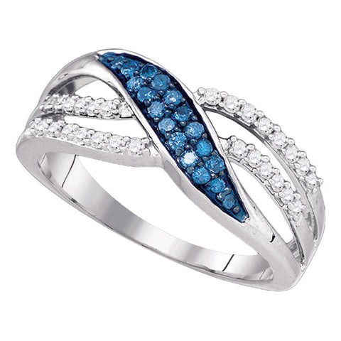 10kt White Gold Womens Round Blue Color Enhanced Diamond Band Ring 1/3 Cttw