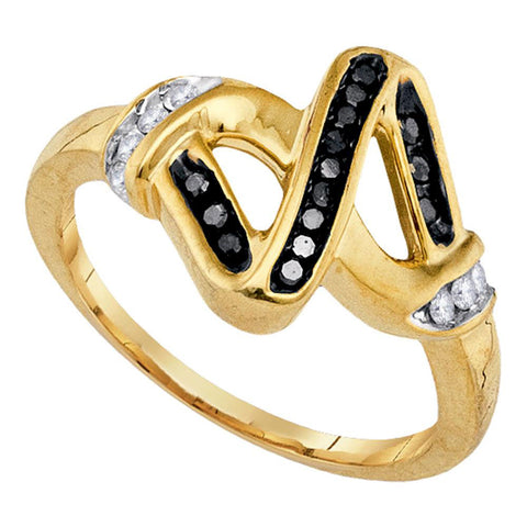 Sterling Silver Womens Round Black Color Enhanced Diamond Fashion Ring 1/5 Cttw