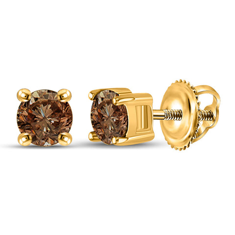 10kt Yellow Gold Womens Round Brown Diamond Solitaire Earrings 1 Cttw