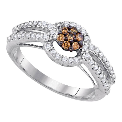 10kt White Gold Womens Round Brown Diamond Cluster Ring 1/2 Cttw